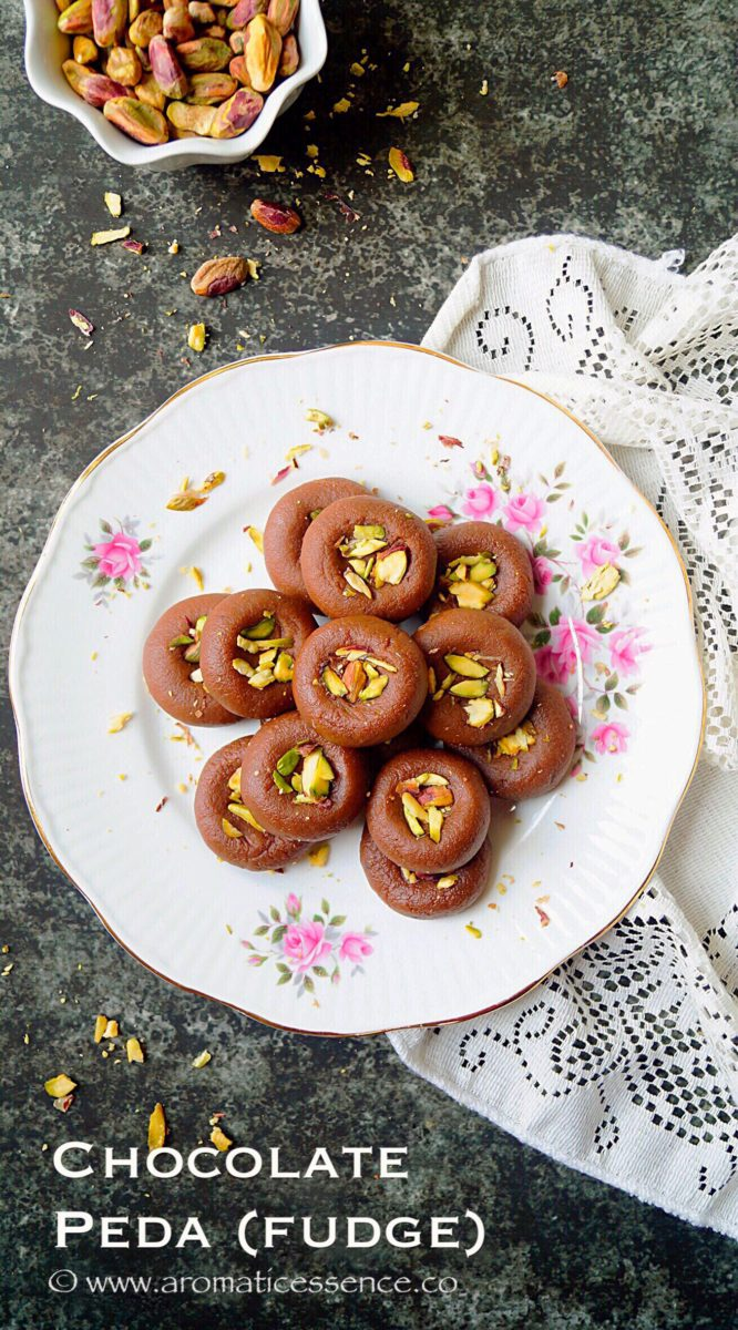 Chocolate peda | Chocolate mawa peda (Chocolate flavored Indian milk fudge)
